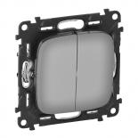 Valena ALLURE. Лицевая панель для двухклавишного выключателя. Полированная сталь Legrand