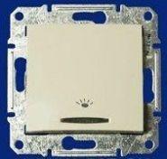"""Кнопочный выключатель IP44 с символом """"свет"""" Sedna (белый)"""
