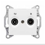 Розетка TV-R проходная 4 dB Sedna (белый)