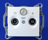 Розетка TV-R-SAT проходная 8 dB Sedna (белый)