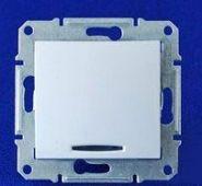 Выключатель одноклавишный с индикацией Sedna (белый)