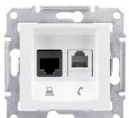 Розетка телефон+компьютер RJ11+RJ45,кат. 5е,неэкр. UTP Sedna (белый)