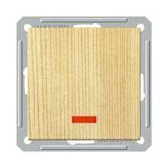 Выключатель 1-о клавишный 2-х полюсный с индикатором (250В, 16А, сосна)