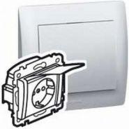 Силовая розетка 2К+З с защ. шт. и кр. Aluminium/Алюминий(арт.771364)